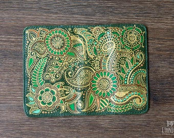 Green leather passport wallet with mehndi decor Floral design passport holder Gift idea for traveler Green passport cover Gift for friend