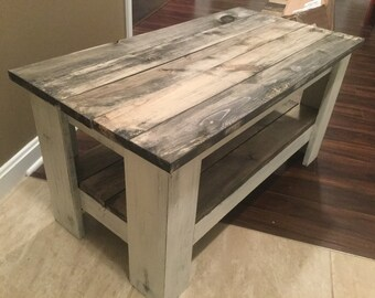 Primitive Distressed White With Barnwood Shelves Solid Wood Coffee Table