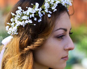 Gypsophila Flower Crown, Babys Breath Crown, bridal flower crown, boho flower crown wedding, babys breath floral crown, boho wedding crown