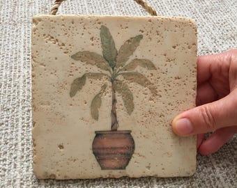 Vintage Stone Tile Wth Palm Tree