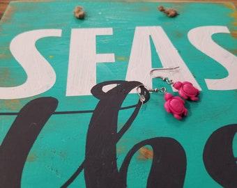 Mini Turtle Earrings - Pink