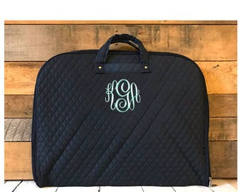Personalized Quilted Navy Garment Bag, Personalized Hanging Garment Bag, Solid Navy Travel Hanging Bag, Cheer, Dance, Bridal Travel Tote