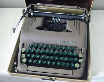 1950 Smith Corona Typewriter, Mid Century Manual Typewriter, Carrying Case, Silent 5S Series, Gray Green Industrial Decor, Office Supply
