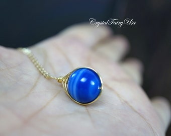 Blue Agate Necklace - Gold Filled Blue Botswana Agate Necklace - Tiny Silver Blue Chalcedony Pendant -   Yoga  Single Wrapped Stone Jewelry