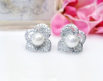 Bridal Wedding Studs, Spring Wedding Earrings, Studs with Cubic Zirconia Accents, Bridal Earrings, Mother of the Bride, Flower Pearl Earring