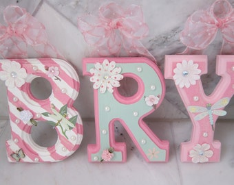 CUSTOM 6 x 4' - Pink and Mint Wall Wooden Hanging Wall Letters for Nursery or Kids Bedroom