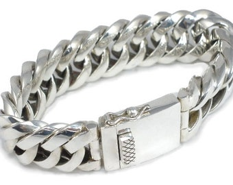 Sterling Silver Mens Very Unique Chunky Bracelet