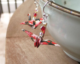 Origami Earrings - black, red, pink paper cranes kawaii