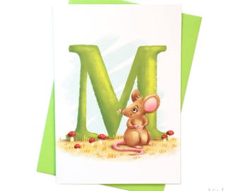 Illustrated - Alphabet - Greeting Card - M is for Mouse