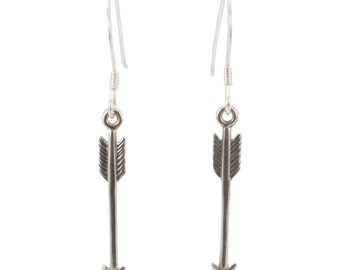 Long Arrow Earrings, Sterling Silver Arrows, Arrow Dangle Earrings, Arrow Jewelry #6429