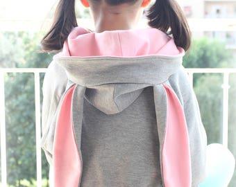 Easter bunny costume, rabbit ears hoodie, bunny sweatshirt, rabbit ears sweatshirt, rabbit sweater, rabbit costume, Halloween, girls clothes