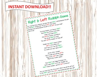 INSTANT DOWNLOAD Right & Left Rudolph Game. Printable.