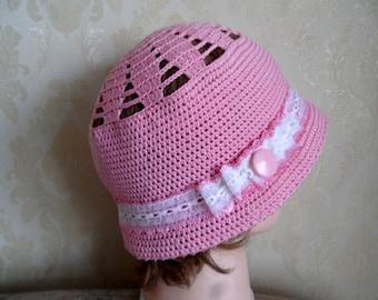 Cloche hat-Pink color cotton crochet hat-Pink cotton sun hat-Summer holiday hat-Crochet cotton summer hat-Summer beach hat