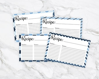 Blue Patterned 4x6 Recipe Cards