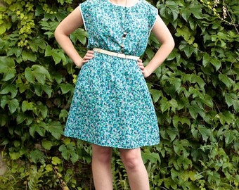 S-M vintage 80s flower print mini day dress ditsy floral green & blue