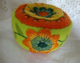 chartreuse and tangerine pincushion