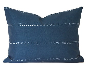 Outdoor Lumbar Pillow Cover ANY SIZE Decorative Pillow Cover Navy Pillow Premier Prints Carlo Oxford Blue