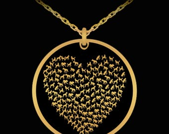 Heart of Dogs Gold Charm Pendant