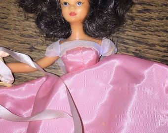 """1950s-60s Southern Belle Doll Barbie Style 7"""" Unmarked Pink Gown Rubbery Bendy Plastic"""