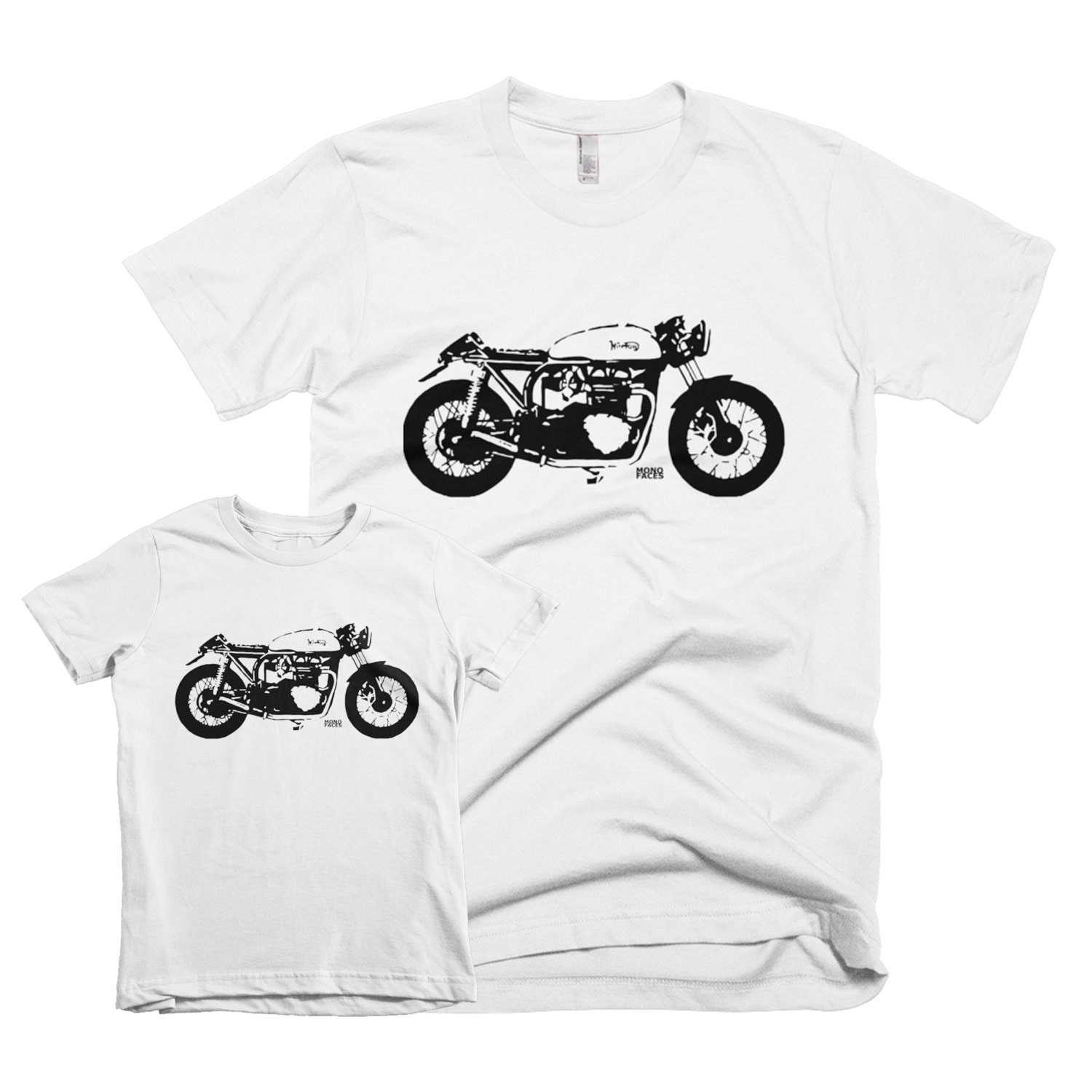 Cafe Racer Matching Father Son Shirts Vintage Motorcycle