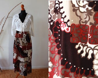 Vintage boho skirt, velvet skirt, long maxi skirt, abstract pattern,psychedelic