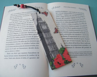 London wooden bookmark, travel page marker, Big Ben and roses, reading accessory, teacher gift, unique bookmark, thank you, vintage London