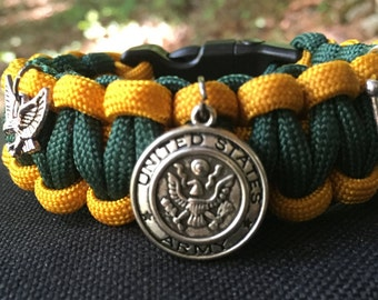 Army Paracord Bracelet, charmed with a vintage military emblem charm, and 2 others