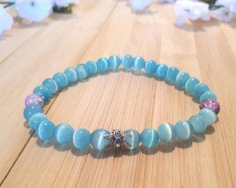 BRACELET blue - cotton candy beads - rhinestone