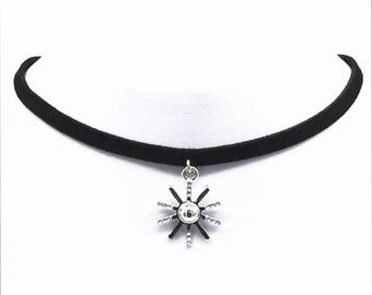 A Silver Star Boho Choker Necklace with a Two inch extender chain