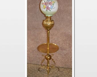Antique Brass Oil Floor Lamp w/Hand Painted Floral Glass Shade