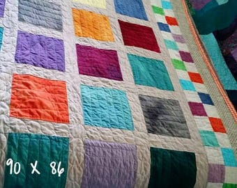 Quilts for Sale, Finished Quilt,  Handmade Queen Quilt,Patchwork Quilts,  Finished Quilt, Hand Dyed Quilt,  90 X 86, Quilts By Taylor