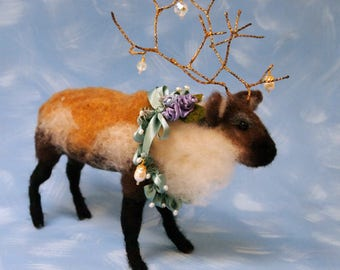 fancy needle felted reindeer caribou one of a kind