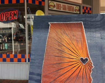 State String Art - Auburn, Alabama String Art - Auburn Tigers - Auburn University - War Eagle