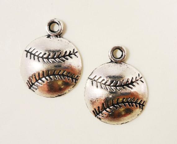 Silver Baseball Charms 18x14mm Antique Silver Baseball Pendants, Softball Charms, Sport Charms, Metal Charms, Jewelry Charms, Supplies, 10pc