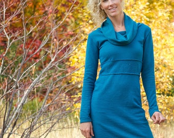 Hemp Nieve Cowl Dress - hemp fleece hand-dyed dress