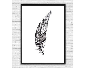 Feather Art Print, Black and White Art, Modern Art, Ink Painting, Print from Original Acrylic Painting, Wall Decor, Home Decor