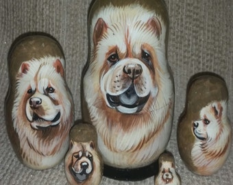 Chow Chow on Five Russian Nesting Dolls. Cream Coat. Dogs #2.