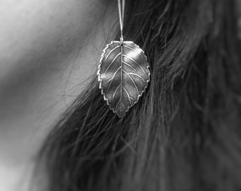 Silver Leaf Earrings Dangle Leaf Earrings Silver Dangle Earrings Drop Earrings Leaf Jewelry Nature Earrings Nature Jewelry