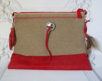 """Wallet linen and Red suede """"Wanted Camp Apache Collection"""""""