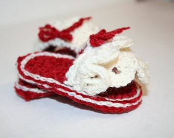 Red and Cream Lacey Slip on Slippers