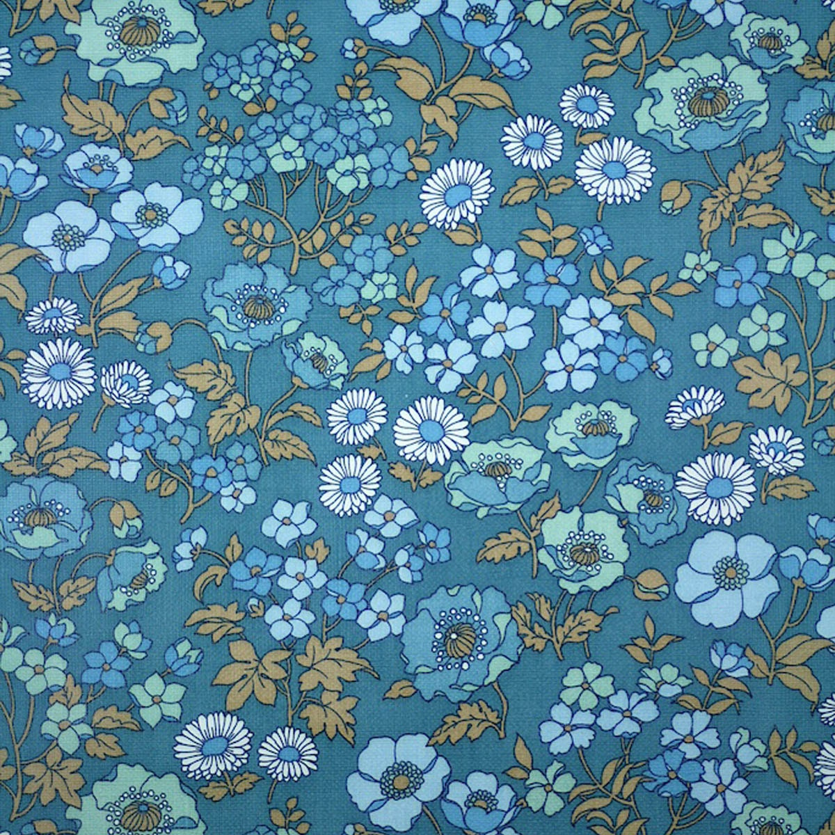 RESERVED Scandinavian VINTAGE BLUE Floral Small Pattern