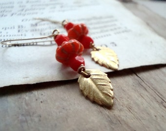 Tomato Red Glass and Brass Leaf Earrings Gold Fall Fashion Holiday Jewelry Nature Inspired Vintage Style Leaf Jewelry Gifts Under 30