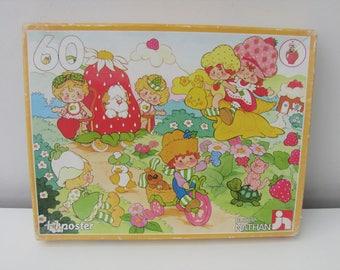 Vintage 1980s Strawberry Shortcake Jigsaw Puzzle with Original Poster Kitsch Retro Kids Gift