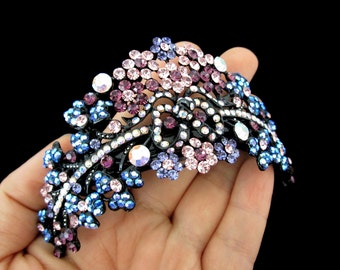 Large Crown Shape Cluster Hair Barrette Clip Accessory Ponytail Holder Black Plated Pink Purple Blue