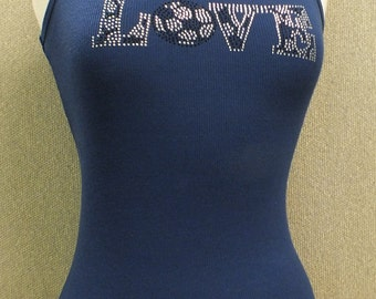 Navy blue tank top with soocer