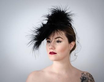 1940s tilt hat | Germaine Montabert black feather and straw tilt hat