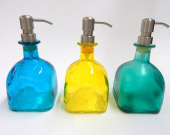 LARGE Upcycled Eco-Friendly Patron Tequila Soap Dispenser Repurposed Glass Bottles