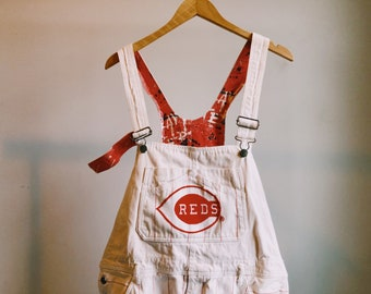 Large Reds Pinstripe White and Red Overalls
