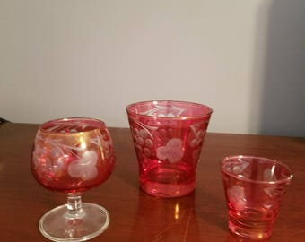 Cranberry glass bar set