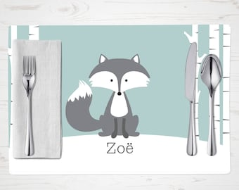 Children's Placemat - Winter Fox Placemat - Personalized with Child's Name - Custom Placemat